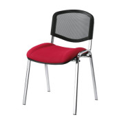 Besucherstühle rot/schwarz gepolstert mit Stoffbezug Netzrücken Chromgestell 4 Stück