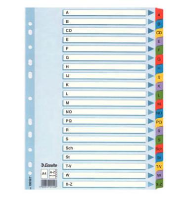 Kartonregister 100167 A-Z A4 160g farbige Taben 20-teilig
