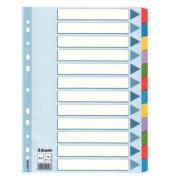 Kartonregister 100169 blanko A4 160g farbige Taben 12-teilig