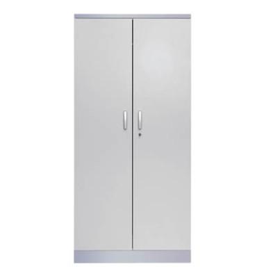 Aktenschrank 100123, Holz/Stahl abschließbar, 5 OH, 92 x 195 x 42 cm, lichtgrau/alu