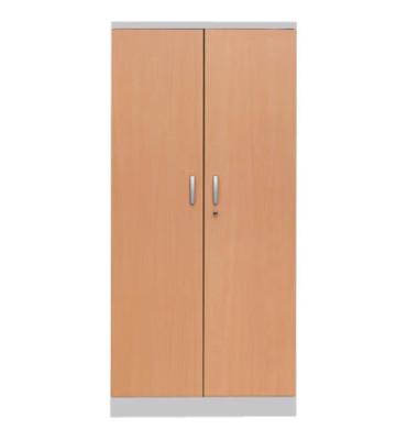 Aktenschrank 100119, Holz/Stahl abschließbar, 5 OH, 92 x 195 x 42 cm, buche/alu