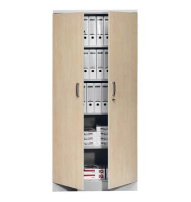 Aktenschrank 100124, Holz/Stahl abschließbar, 5 OH, 92 x 195 x 42 cm, ahorn/alu