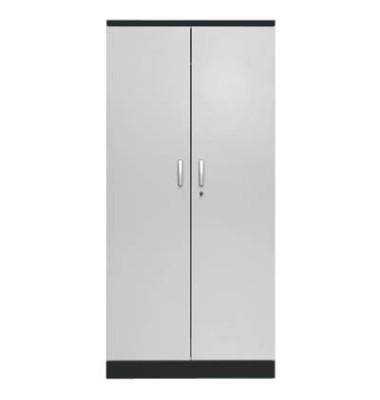 Aktenschrank 100129, Holz/Stahl abschließbar, 5 OH, 92 x 195 x 42 cm, lichtgrau/schwarz