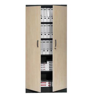 Aktenschrank 100130, Holz/Stahl abschließbar, 5 OH, 92 x 195 x 42 cm, ahorn/schwarz