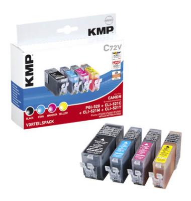 Tinten schwarz, cyan, magenta, gelb ersetzen Canon PGI-520BK, CLI-521 C/M/Y