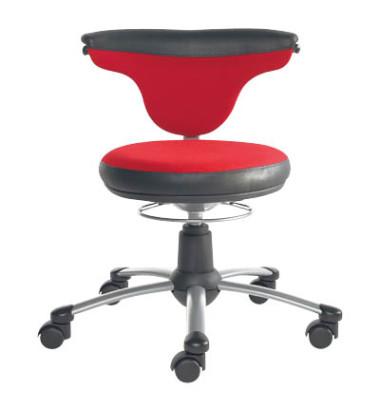 1251 Torro Sit Rollhocker schwarz/rot mit Doppelrollen