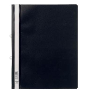 Schnellhefter 2580 A4+ überbreit schwarz PVC Kunststoff kaufmännische Heftung bis 200 Blatt mit Abheftlochung