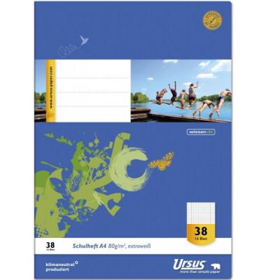 Schulheft Basic A4 Lineatur 38 kariert perforiert gelocht weiß 16 Blatt