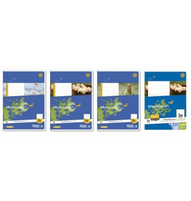 Schulheft Basic 3.Schuljahr A5 Lineatur 3 liniert mit Rand weiß 16 Blatt