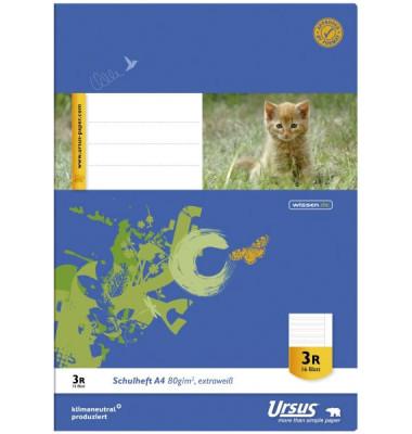 Schulheft Basic 3.Schuljahr A4 Lineatur 3 liniert mit Rand weiß 16 Blatt