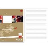 Musikheft Basic A4 Notenlinien mit Hilfslinien weiß 8 Blatt