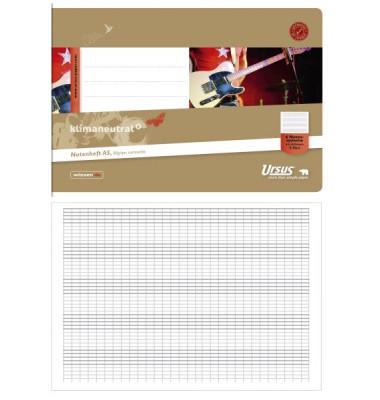 Musikheft Basic A5 quer Notenlinien mit Hilfslinien weiß 8 Blatt