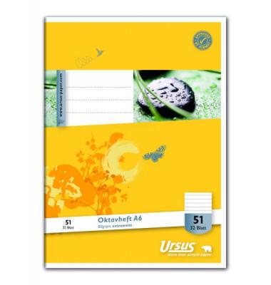 Oktavheft Basic A6 Lineatur 51 liniert weiß 32 Blatt