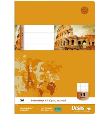 Vokabelheft Basic A5 Lineatur 54 liniert 3 Spalten weiß 40 Blatt