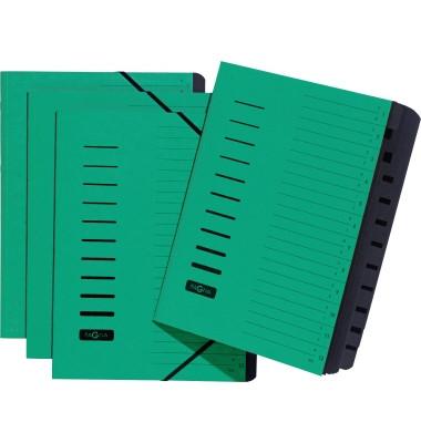 Ordnungsmappe A4 grün 12 Fächer mit Eckspanngummi