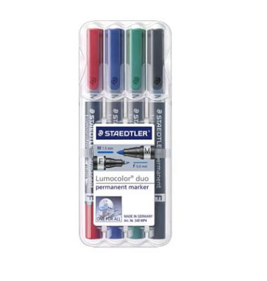 Permanentmarker 348 duo 4er Etui farbig sortiert 0,6mm und 1,5mm Rundspitze