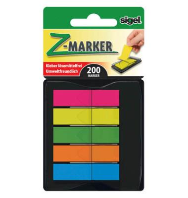 Index Haftstreifen Z-Marker mini mit 5 Farben (neonrot, -gelb, -grün, -orange, -blau)