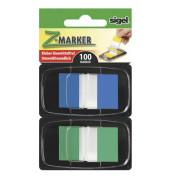 Index Haftstreifen Z-Marker im 2er Kombi-Pack grün und blau