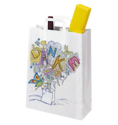 Tragetaschen aus Kraftpapier weiß bedruckt mit DANKE 32,0 x 14,0 x 42,0 cm (BxTxH)