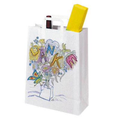 Tragetaschen Topcraft aus Kraftpapier weiß bedruckt mit DANKE 32,0 x 14,0 x 42,0 cm (BxTxH)