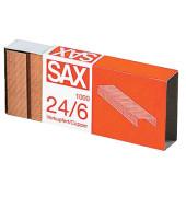 Heftklammern 1-246-01, 24/6, verkupfert, Heftleistung 25 Blatt max., 1000 Stück