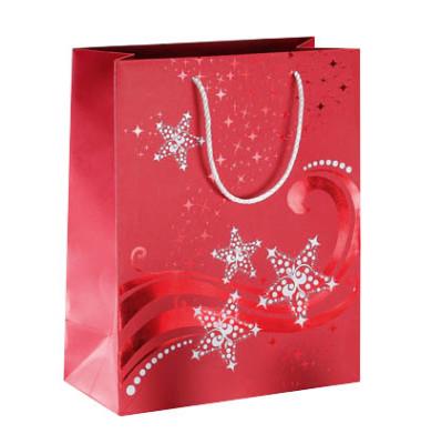 Geschenktüten Wave rot/weiß 17,5 x 10 x 23cm 3 Stück