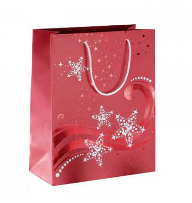 Geschenktüten Wave rot/weiß 26 x 12,5 x 33cm 3 Stück