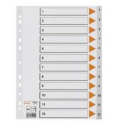 Kunststoffregister 93212 1-12 A4 0,12mm graue Taben 12-teilig