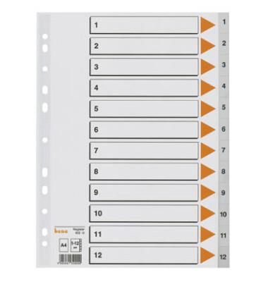 Register 93212 1-12 A4 0,12mm graue Taben 12-teilig