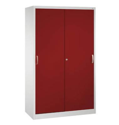 Aktenschrank 2040-000, Stahl abschließbar, 5 OH, 120 x 195 x 40 cm, rot/lichtgrau