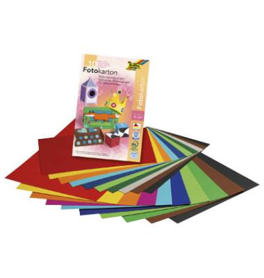 Fotokartonblock A4 farblich sortiert 300g 10 Blatt