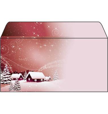 Weihnachtsumschlag Silent Night Din Lang 50 Stück ohne Fenster DU033