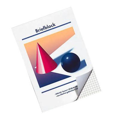 Briefblock A5 weiß kariert 50 Blatt / 10 Blöcke