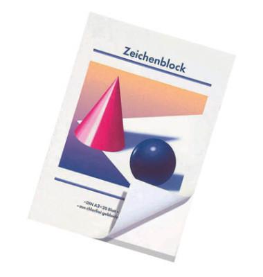 Zeichenblock A3 weiß blanko 20 Blatt / 5 Blöcke
