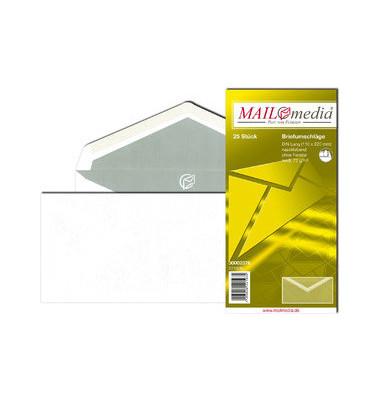 Briefumschläge Din Lang ohne Fenster nassklebend 72g weiß 25 Stück