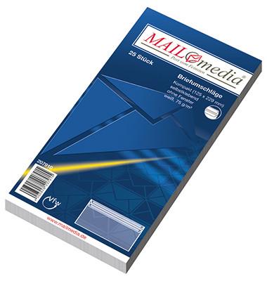 Briefumschläge Kompakt ohne Fenster selbstklebend 75g weiß 25 Stück