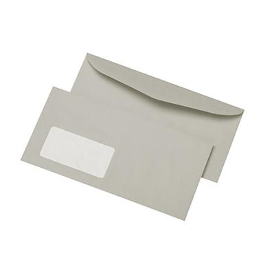 Kuvertierhüllen C6/5 mit Fenster nassklebend 75g grau 1000 Stück Recycling