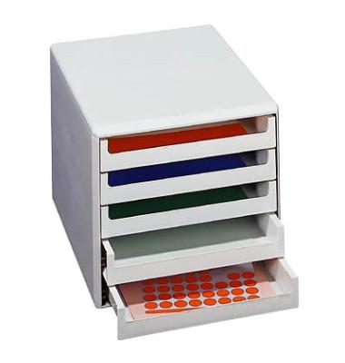 Schubladenbox 30050909 lichtgrau/lichtgrau 5 Schubladen offen