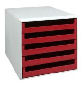 Schubladenbox lichtgrau/rot 5 Schubladen