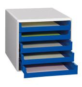 Schubladenbox 30050911 lichtgrau/blau 5 Schubladen offen