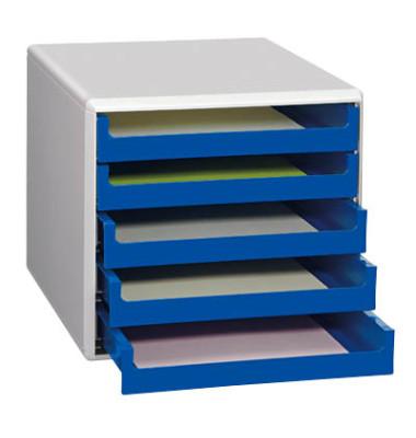 Schubladenbox lichtgrau/blau 5 Schubladen