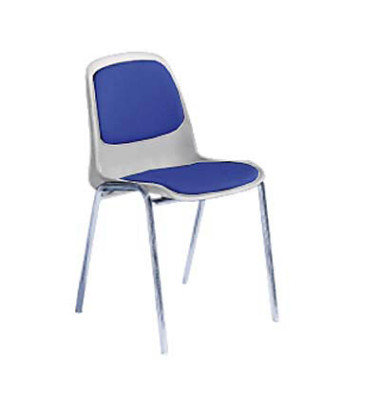 Stapelstuhl hellgrau/blau gepolstert mit Stoffbezug Chromgestell