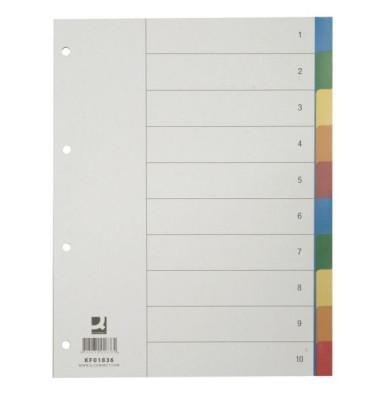 Kunststoffregister KF01836 blanko A4 0,125mm farbige Taben 10-teilig