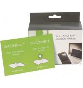 Bildschirm-Reinigungstücher feucht/trocken für Bildschirme 20 Doppelpackungen