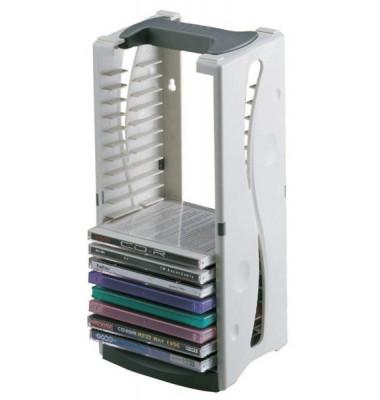 CD-Turm Kunststoff grau für 20CDs