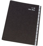 Pultordner KF0456 A4 1-12 / Jan-Dez schwarz 12-teilig