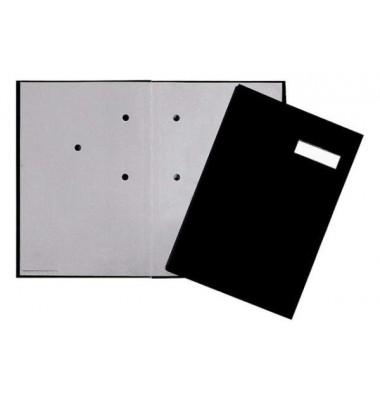 Unterschriftenmappe KF3101 A4 Kunststoff schwarz mit Einsteckschild 20 Fächer