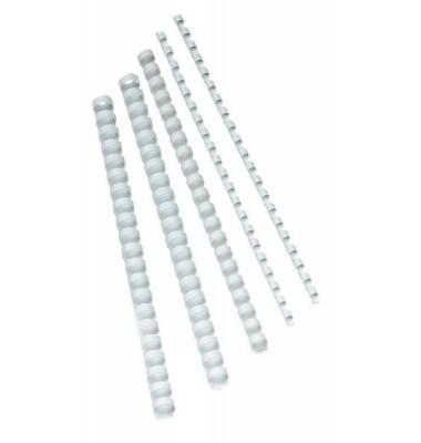Plastikbinderücken KF24021 weiß US-Teilung 21 Ringe auf A4 65 Blatt 10mm 100 Stück