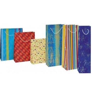 Geschenktragetasche für 1 Flasche Fantasie farbig sortiert 16x8x22cm