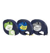 3er Spar-Set Beschriftungsbänder 91241 12 mm schwarz auf 1x weißes Papier-, 1x gelbes Plastik-, 1x silbernes Metall-Etikett